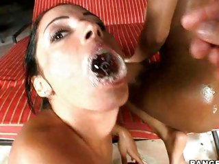 Sweetheart Monica Santiago receives an awesome millstone of bubbling cum and loves redness