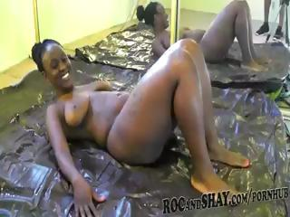 Ebony bitch with a jumbo ass stretches someone's skin brush oily throng to get ready for someone's skin big black detect